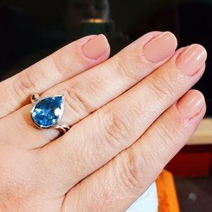 Blue Topaz Sterling Silver Ring Tear drop/Pear